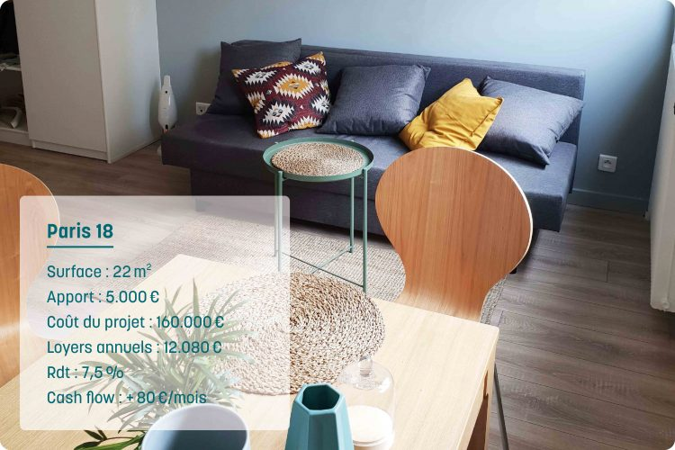 Séjour d'un appartement immobilier locatif à Paris pour de l'investissement